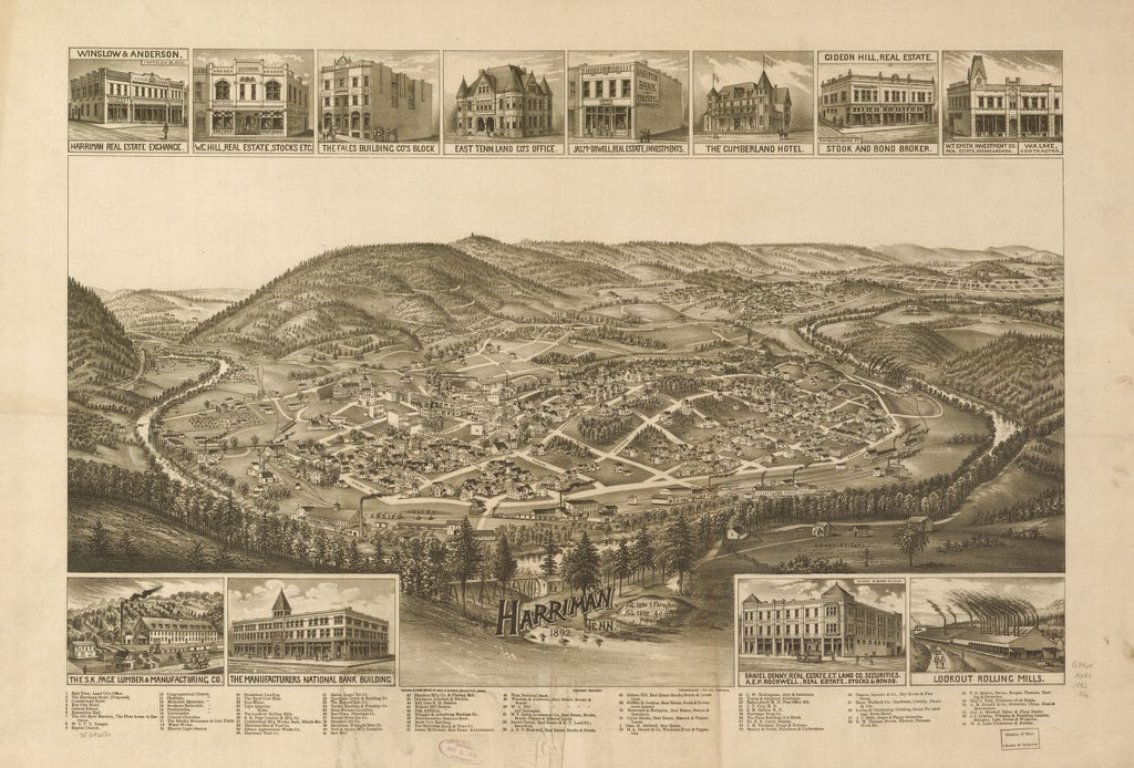8 x 12 Reproduced Photo of Vintage Old Perspective Birds Eye View Map or Drawing of: Harriman, Tenn. 1892. Norris, George E.Burleigh Litho. 1892
