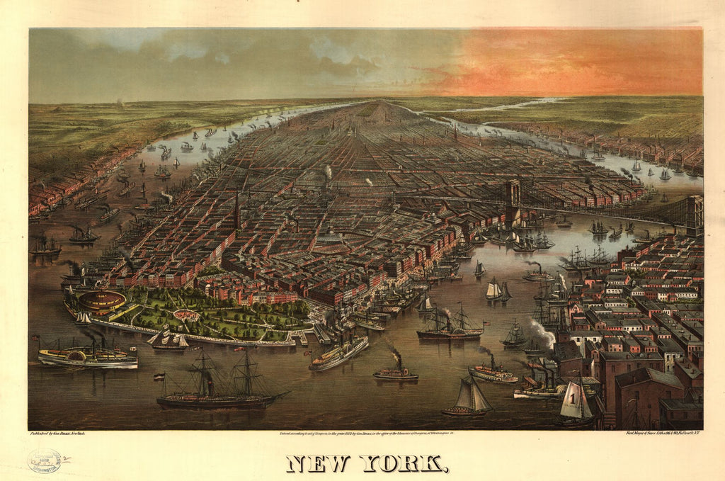 8 x 12 Reproduced Photo of Vintage Old Perspective Birds Eye View Map or Drawing of: New York, / Ferd. Mayer & Sons, Liths., N.Y. none 1873