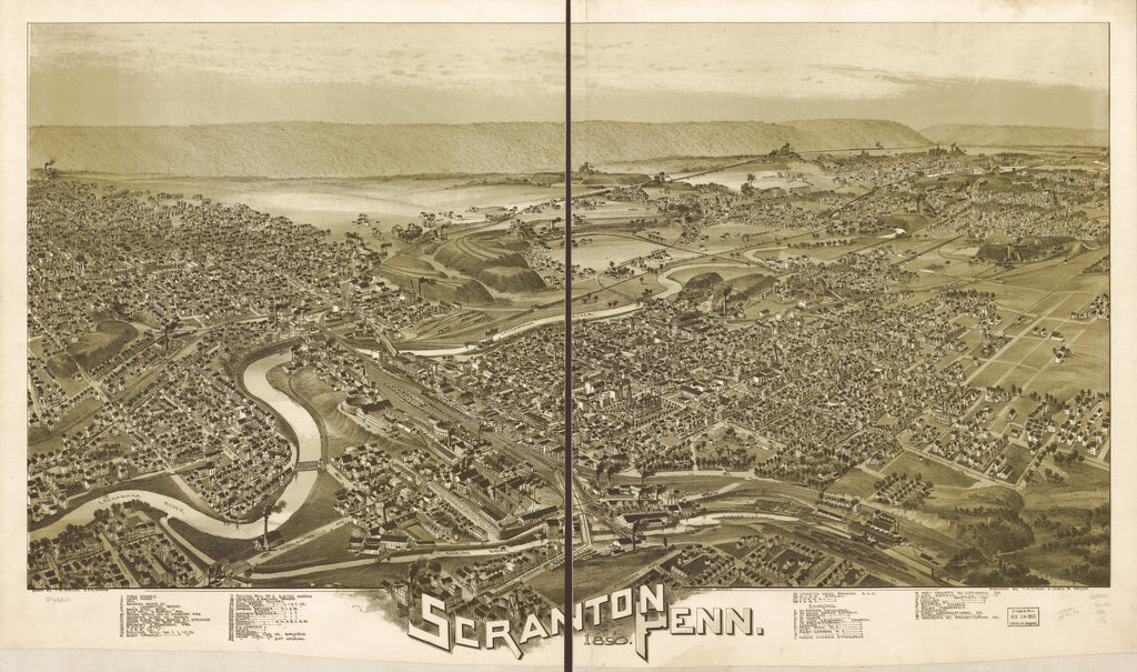 8 x 12 Reproduced Photo of Vintage Old Perspective Birds Eye View Map or Drawing of: Scranton, Penn. 1890.   Fowler, T. M. - Downs, A. E. (Albert E.) - Moyer, James - Fowler, T. M.  1890