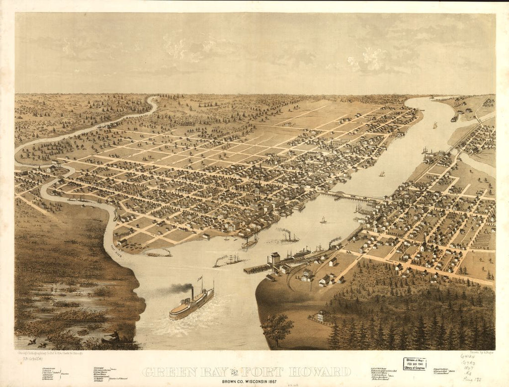 8 x 12 Reproduced Photo of Vintage Old Perspective Birds Eye View Map or Drawing of: Green Bay and Fort Howard, Brown Co., Wisconsin 1867. Ruger, A. 1867