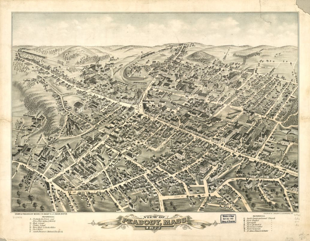 8 x 12 Reproduced Photo of Vintage Old Perspective Birds Eye View Map or Drawing of: Peabody, Mass. 1877.  Bailey, O. H. (Oakley Hoopes) - Hazen, J. C. - J. Knauber & Co. - Bailey, O. H.  1877