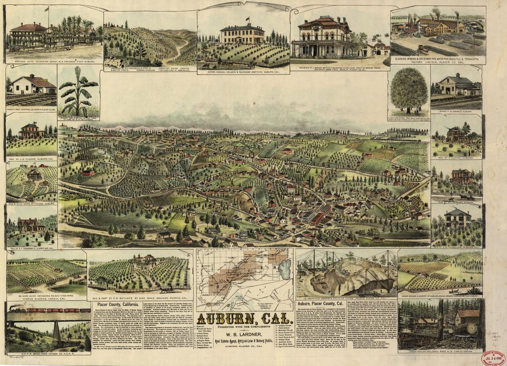 8 x 12 Reproduced Photo of Vintage Old Perspective Birds Eye View Map or Drawing of: Auburn, Cal. Cook, C. P. 1887?