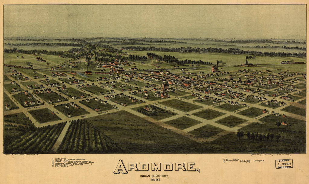 8 x 12 Reproduced Photo of Vintage Old Perspective Birds Eye View Map or Drawing of: Ardmore, Indian Territory, 1891. Fowler, T. M. (Thaddeus Mortimer), 1842-1922.Moyer, James B. 1891