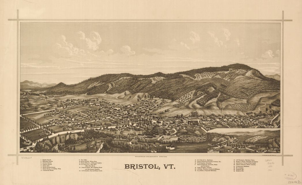 8 x 12 Reproduced Photo of Vintage Old Perspective Birds Eye View Map or Drawing of: Bristol, Vt.   Norris, George E. - Burleigh Lith  1889