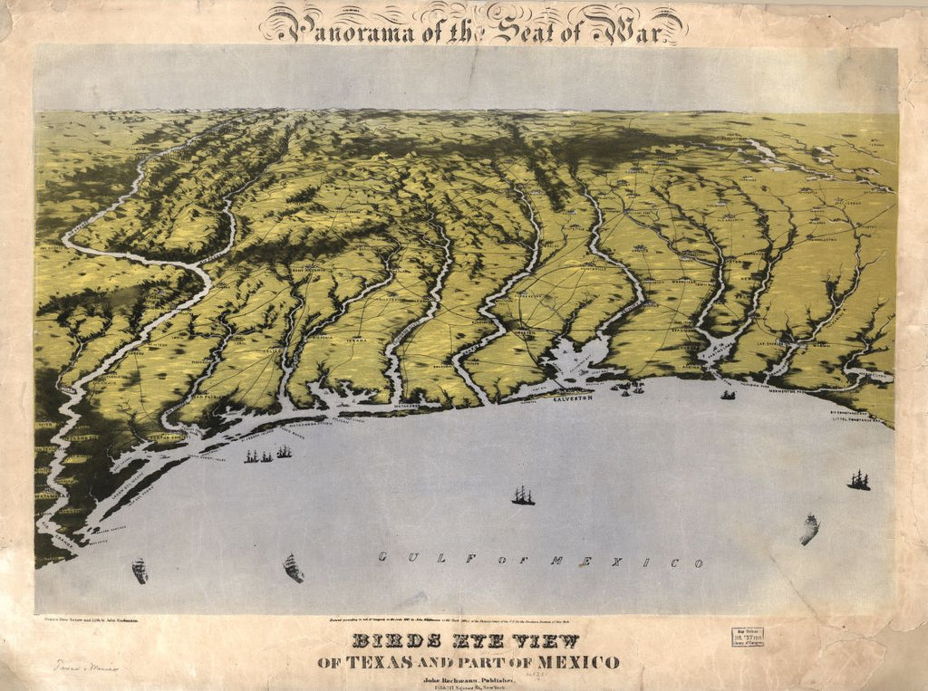 8 x 12 Reproduced Photo of Vintage Old Perspective Birds Eye View Map or Drawing of: Panorama of the seat of war : Texas and part of Mexico Bachmann, John. 1861