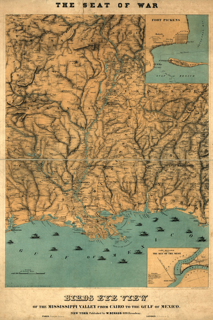 8 x 12 Reproduced Photo of Vintage Old Perspective Birds Eye View Map or Drawing of: the Mississippi Valley from Cairo to the Gulf of Mexico Couzens, M. K. 1861