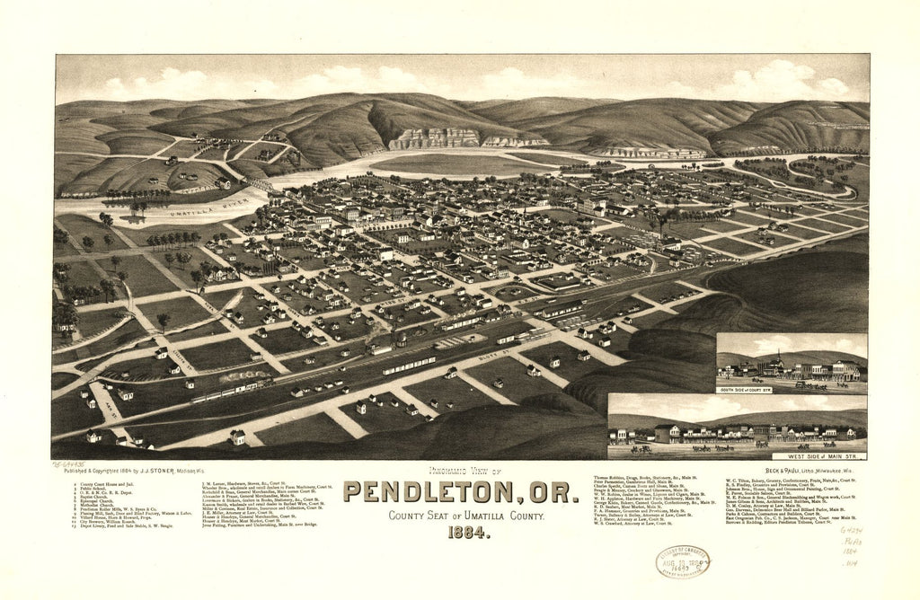 8 x 12 Reproduced Photo of Vintage Old Perspective Birds Eye View Map or Drawing of: Panoramic Pendleton, Or., county seat of Umatilla County 1884. Wellge, H. (Henry) 1884