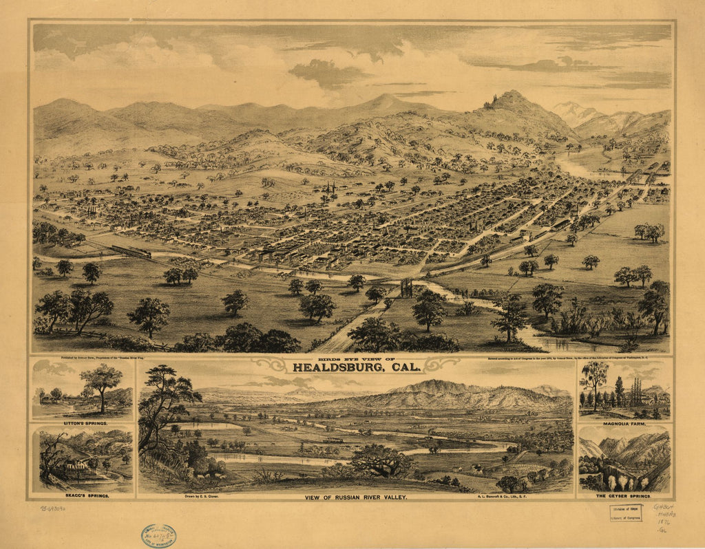 8 x 12 Reproduced Photo of Vintage Old Perspective Birds Eye View Map or Drawing of: Healdsburg, Cal. Glover, E. S. (Eli Sheldon) c1876