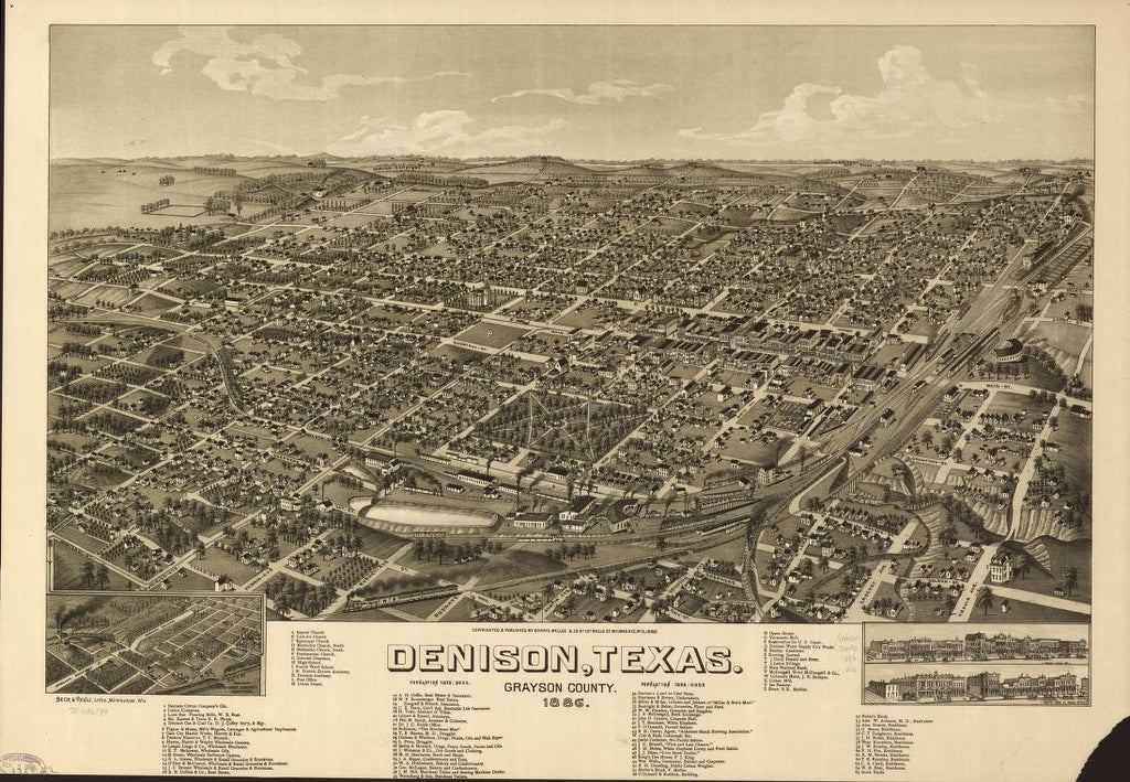 8 x 12 Reproduced Photo of Vintage Old Perspective Birds Eye View Map or Drawing of: Denison, Texas, Grayson County 1886. Norris, Wellge & Co. c1885