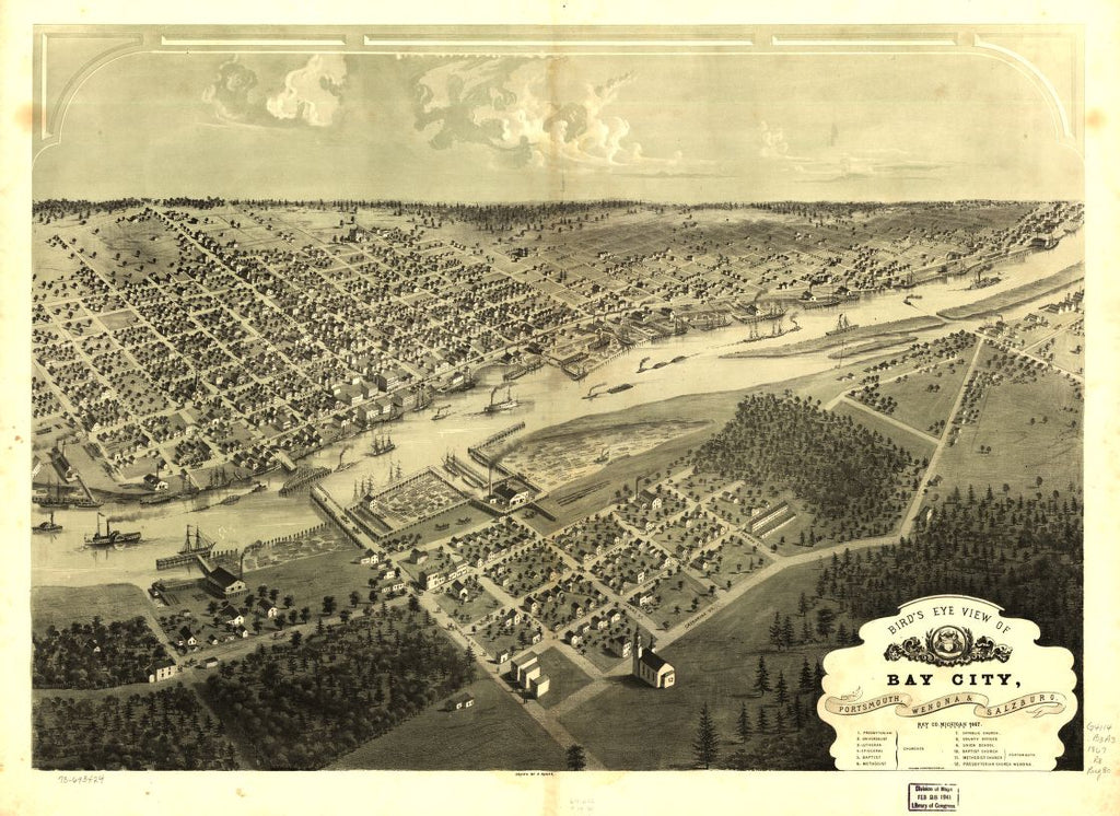 8 x 12 Reproduced Photo of Vintage Old Perspective Birds Eye View Map or Drawing of: Bay City, Portsmouth, Wenona & Salzburg, Bay Co., Michigan 1867. Ruger, A. 1867