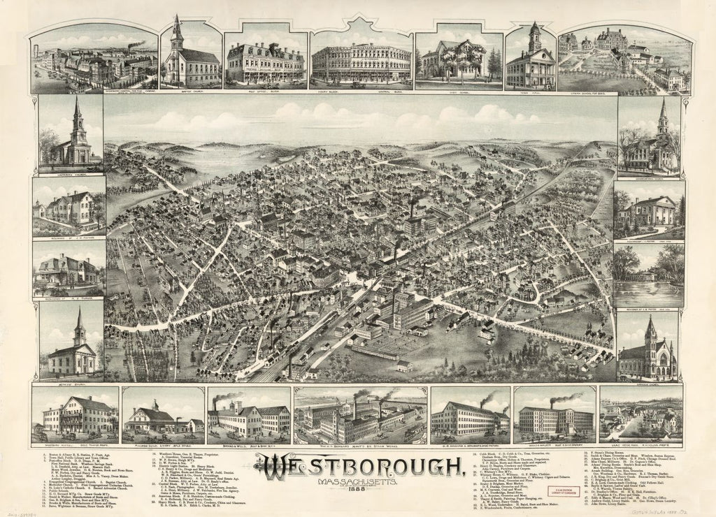 8 x 12 Reproduced Photo of Vintage Old Perspective Birds Eye View Map or Drawing of: Westborough, Massachusetts, 1888.  O.H. Bailey & Co.  1888