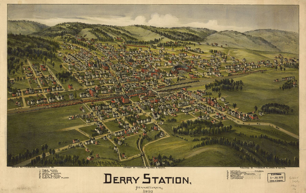 8 x 12 Reproduced Photo of Vintage Old Perspective Birds Eye View Map or Drawing of: Derry Station, Pennsylvania 1900. Fowler, T. M. - Moyer, James - Fowler, T. M. 1900