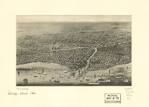 8 x 12 Reproduced Photo of Vintage Old Perspective Birds Eye View Map or Drawing of: [Chicago. - Chicago (Ill.)--Aerial views 1857