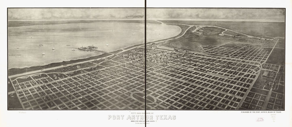 8 x 12 Reproduced Photo of Vintage Old Perspective Birds Eye View Map or Drawing of: City and harbor of Port Arthur, Texas view looking south to the Gulf of Mexico. Glover, E. S. (Eli Sheldon c1912