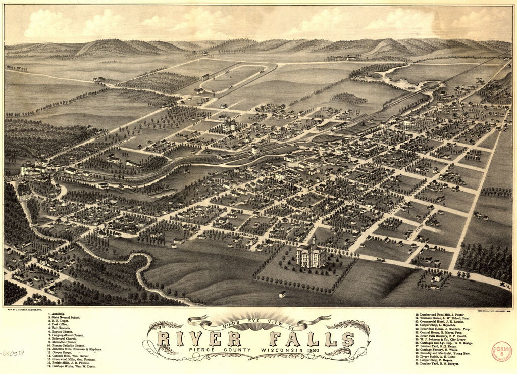 8 x 12 Reproduced Photo of Vintage Old Perspective Birds Eye View Map or Drawing of: River Falls, Pierce County, Wisconsin, 1880. Stoner, J. J. 1880