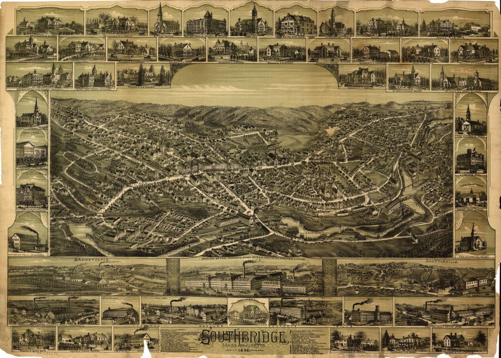 8 x 12 Reproduced Photo of Vintage Old Perspective Birds Eye View Map or Drawing of: Southbridge, Massachusetts.  O.H. Bailey & Co.  1892