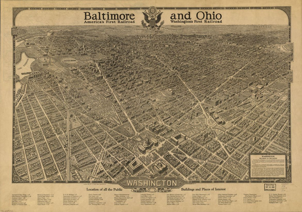 8 x 12 Reproduced Photo of Vintage Old Perspective Birds Eye View Map or Drawing of: Washington, the beautiful capital of the nation Olsen, William 1923
