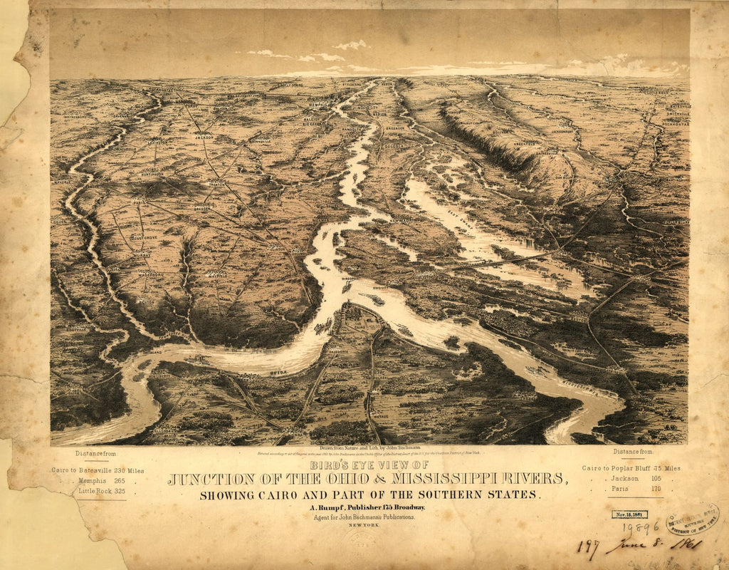 8 x 12 Reproduced Photo of Vintage Old Perspective Birds Eye View Map or Drawing of: junction of the Ohio & Mississippi Rivers, showing Cairo and part of the southern states Bachmann, John. 1861