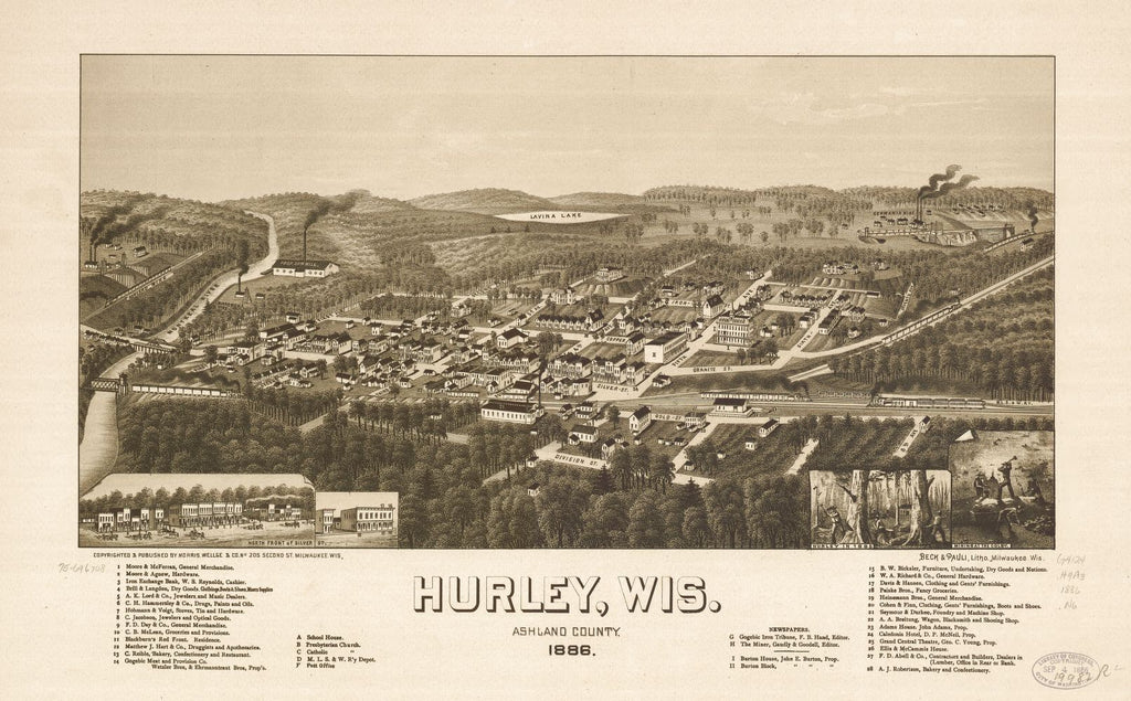 8 x 12 Reproduced Photo of Vintage Old Perspective Birds Eye View Map or Drawing of: Hurley, Wis., Ashland County 1886. Norris, Wellge & Co. 1886