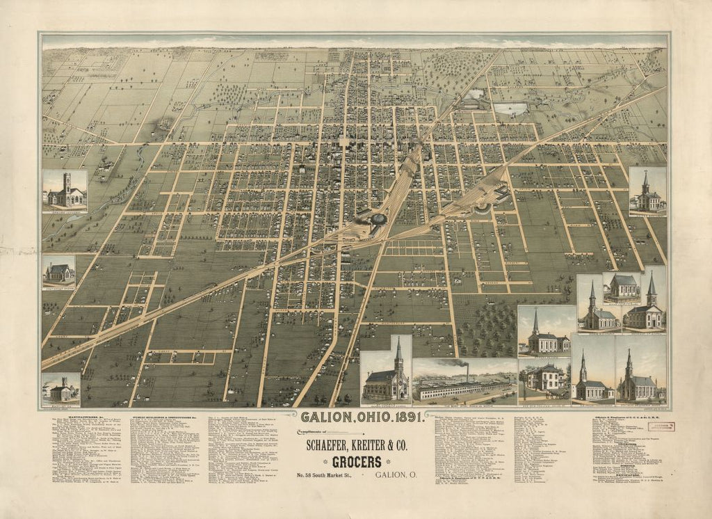8 x 12 Reproduced Photo of Vintage Old Perspective Birds Eye View Map or Drawing of: Galion, Ohio, 1891 Smith & Buckingham. 1891