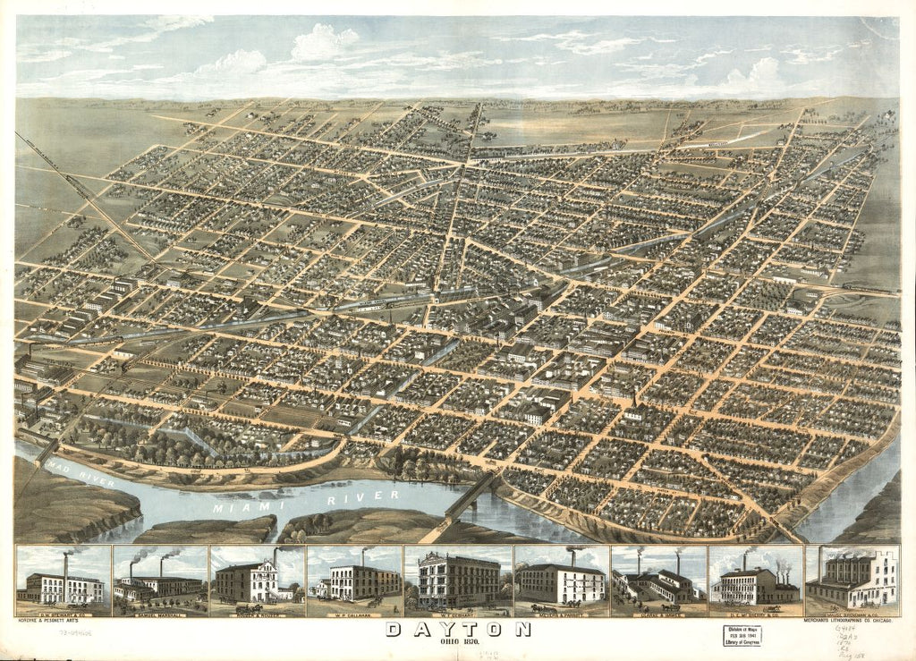 8 x 12 Reproduced Photo of Vintage Old Perspective Birds Eye View Map or Drawing of: Dayton, Ohio 1870. Ruger, A. 1870