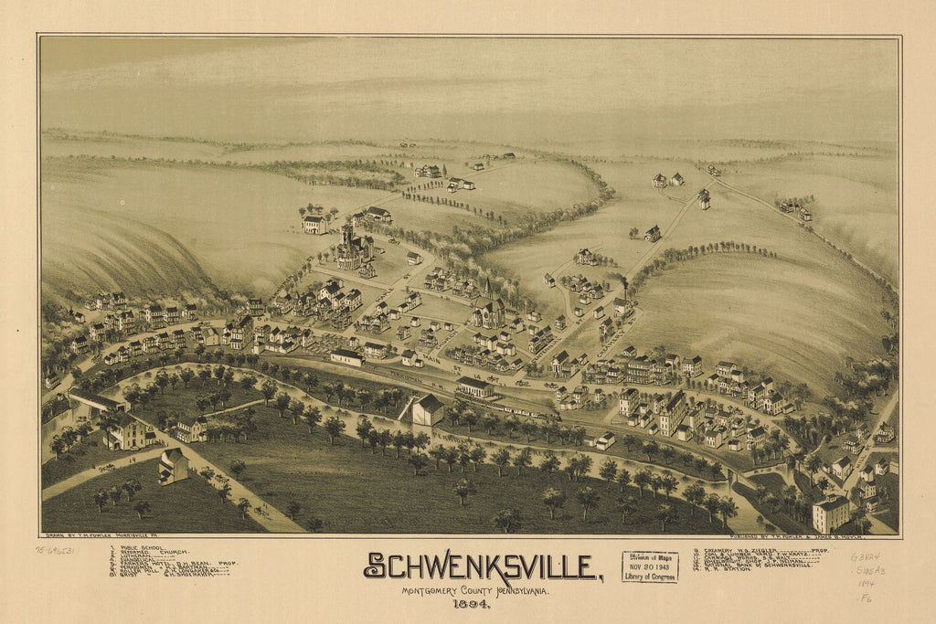8 x 12 Reproduced Photo of Vintage Old Perspective Birds Eye View Map or Drawing of: Schwenksville, Montgomery County, Pennsylvania, 1894.  Fowler, T. M. - Moyer, James - Fowler, T. M.  1894
