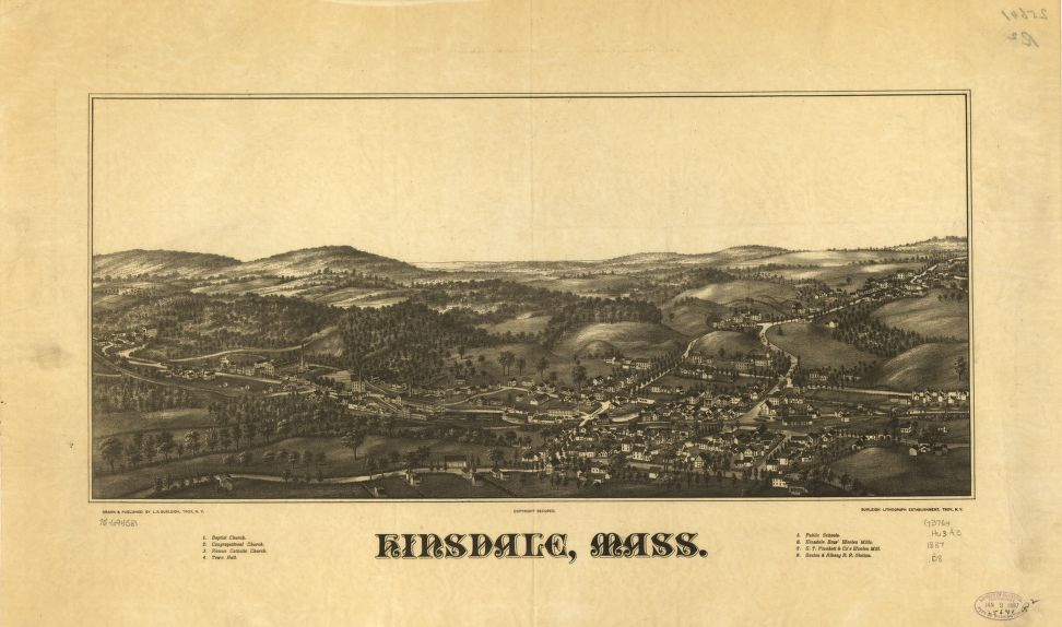 8 x 12 Reproduced Photo of Vintage Old Perspective Birds Eye View Map or Drawing of: Hinsdale, Mass.  Burleigh, L. R. (Lucien R.) - Burleigh Litho - C.H. Vogt (Firm) - Burleigh, L. R.  1887