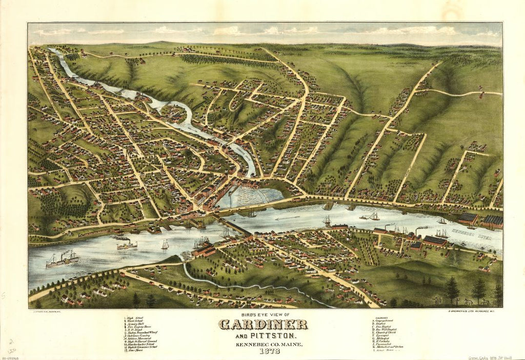 8 x 12 Reproduced Photo of Vintage Old Perspective Birds Eye View Map or Drawing of: Gardiner and Pittston, Kennebec Co., Maine, 1878   Stoner, J. J. - D. Bremner Co.  1878