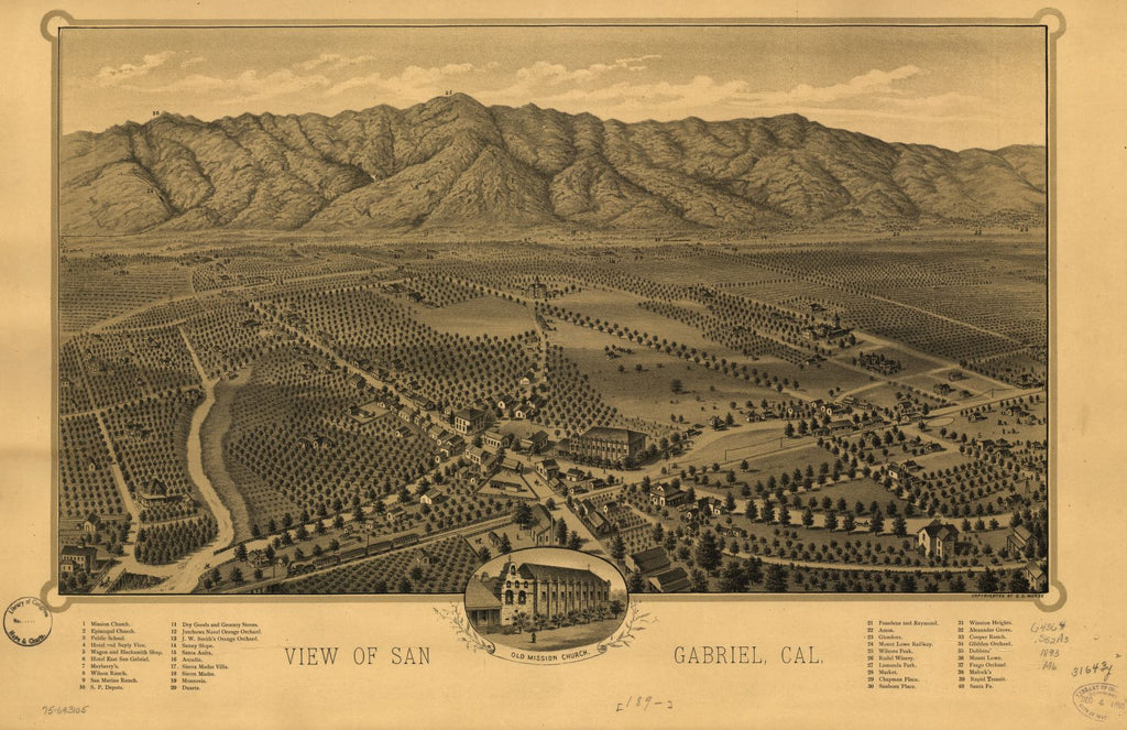 8 x 12 Reproduced Photo of Vintage Old Perspective Birds Eye View Map or Drawing of: San Gabriel, Cal. Morse, D. D. 1893