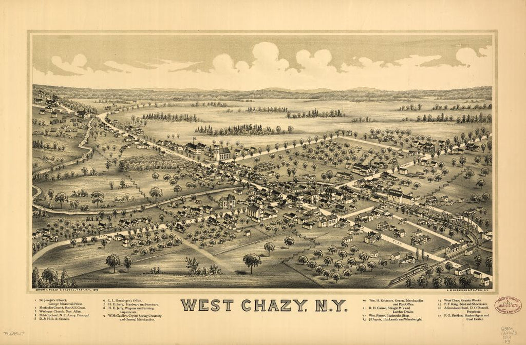 8 x 12 Reproduced Photo of Vintage Old Perspective Birds Eye View Map or Drawing of: West Chazy, N.Y. Fausel, C. (Christian) - Burleigh Litho - Fausel, C. 1899