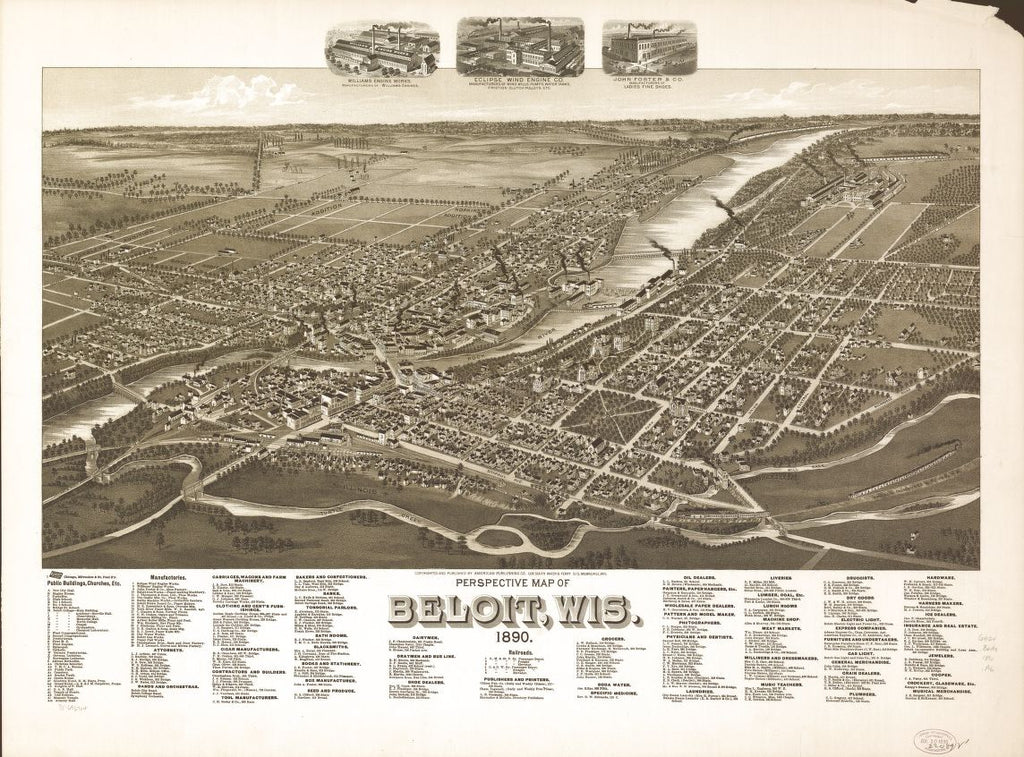 8 x 12 Reproduced Photo of Vintage Old Perspective Birds Eye View Map or Drawing of: Beloit, Wis. 1890. American Publishing Co. (Milwaukee, Wis.) 1890