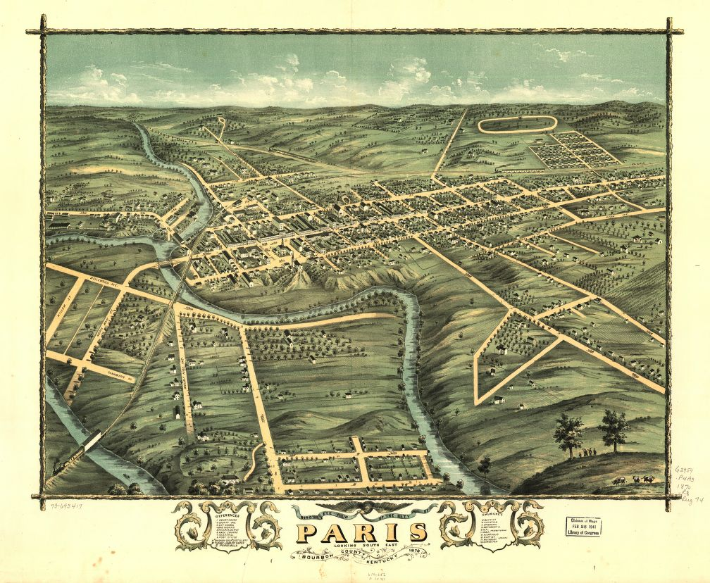 8 x 12 Reproduced Photo of Vintage Old Perspective Birds Eye View Map or Drawing of: Paris, Bourbon County, Kentucky 1870. Ruger, A. 1870