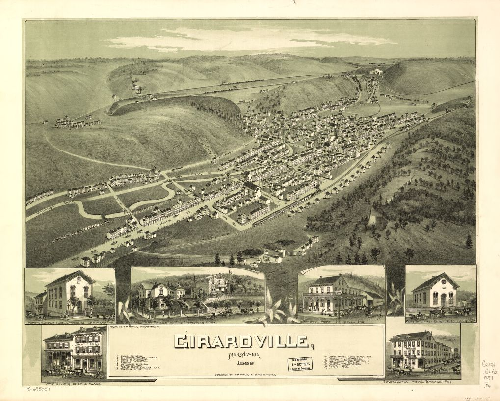 8 x 12 Reproduced Photo of Vintage Old Perspective Birds Eye View Map or Drawing of: Girardville, Pennsylvania. Fowler, T. M. - Moyer, James - Fowler, T. M. 1889