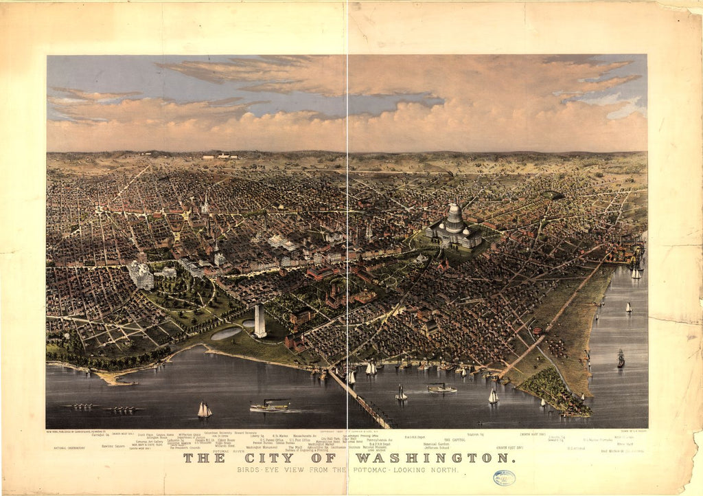 8 x 12 Reproduced Photo of Vintage Old Perspective Birds Eye View Map or Drawing of: Washington view from the Potomac-looking north / drawn by C.R. Parsons Currier & Ives, publisher 1880
