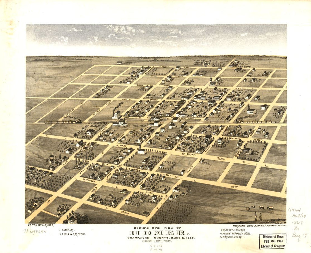 8 x 12 Reproduced Photo of Vintage Old Perspective Birds Eye View Map or Drawing of: Homer, Champaighn [sic] County, Illinois 1869. Ruger, A. 1869