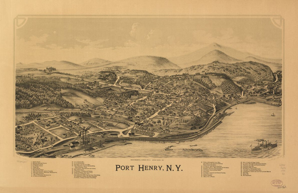 8 x 12 Reproduced Photo of Vintage Old Perspective Birds Eye View Map or Drawing of: Port Henry, N.Y. Burleigh, L. R. (Lucien R.) - Burleigh, L. R. 1889