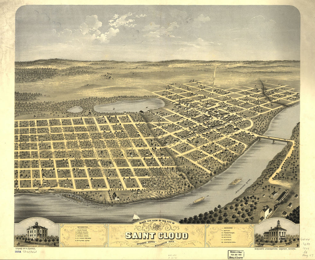 8 x 12 Reproduced Photo of Vintage Old Perspective Birds Eye View Map or Drawing of: Saint Cloud, Stearns County, Minnesota 1869. Ruger, A. 1869