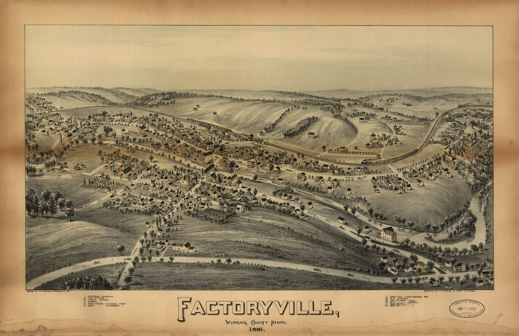 8 x 12 Reproduced Photo of Vintage Old Perspective Birds Eye View Map or Drawing of: Factoryville, Wyoming County, Penn'a Fowler, T. M. - Moyer, James - Fowler, T. M. 1891