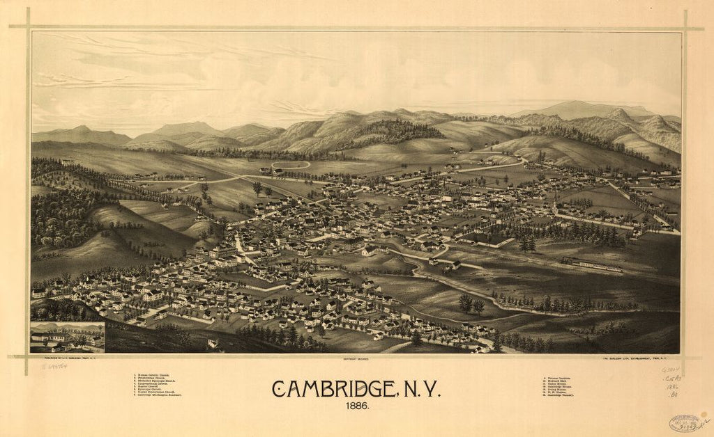 8 x 12 Reproduced Photo of Vintage Old Perspective Birds Eye View Map or Drawing of: Cambridge, N.Y. 1886.  Burleigh, L. R. (Lucien R.) - Burleigh Litho - Burleigh, L. R.  1886