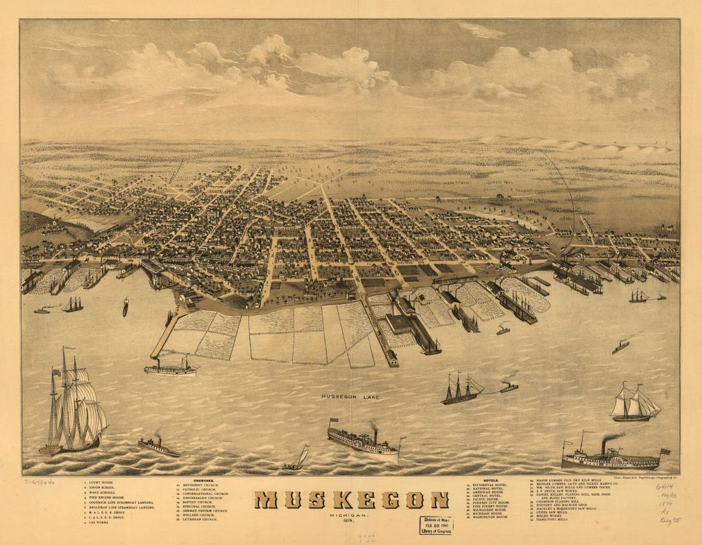 8 x 12 Reproduced Photo of Vintage Old Perspective Birds Eye View Map or Drawing of: Muskegon, Michigan 1874. Ruger, A. 1874