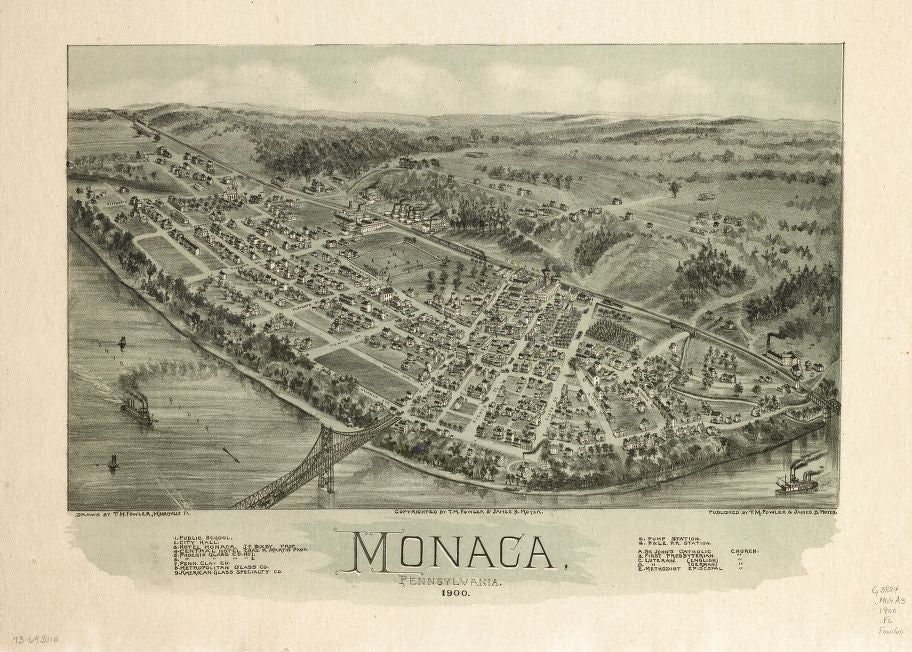 8 x 12 Reproduced Photo of Vintage Old Perspective Birds Eye View Map or Drawing of: Monaca, Pennsylvania 1900. Fowler, T. M. - Moyer, James - Fowler, T. M. 1900