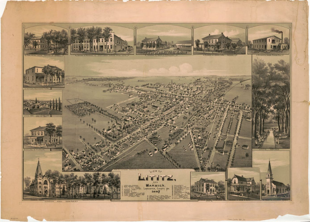 8 x 12 Reproduced Photo of Vintage Old Perspective Birds Eye View Map or Drawing of: Lititz and Warwick, Lancaster County, Pa. : 1887 Fowler, T. M. (Thaddeus Mortimer) 1887