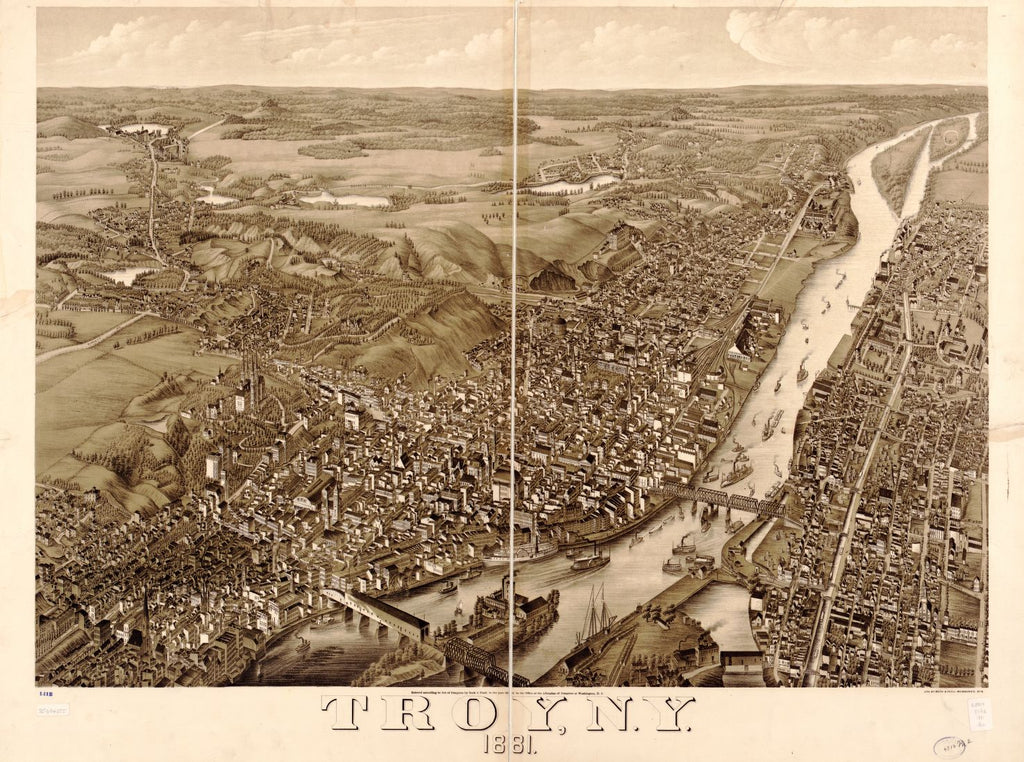 8 x 12 Reproduced Photo of Vintage Old Perspective Birds Eye View Map or Drawing of: Troy, N.Y. 1881. Beck & Pauli 1881