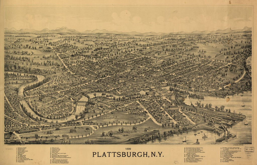 8 x 12 Reproduced Photo of Vintage Old Perspective Birds Eye View Map or Drawing of: 1899 Plattsburgh, N.Y. Fausel, C. (Christian) - Burleigh, L. R. (Lucien R.) - Fausel, C. 1899