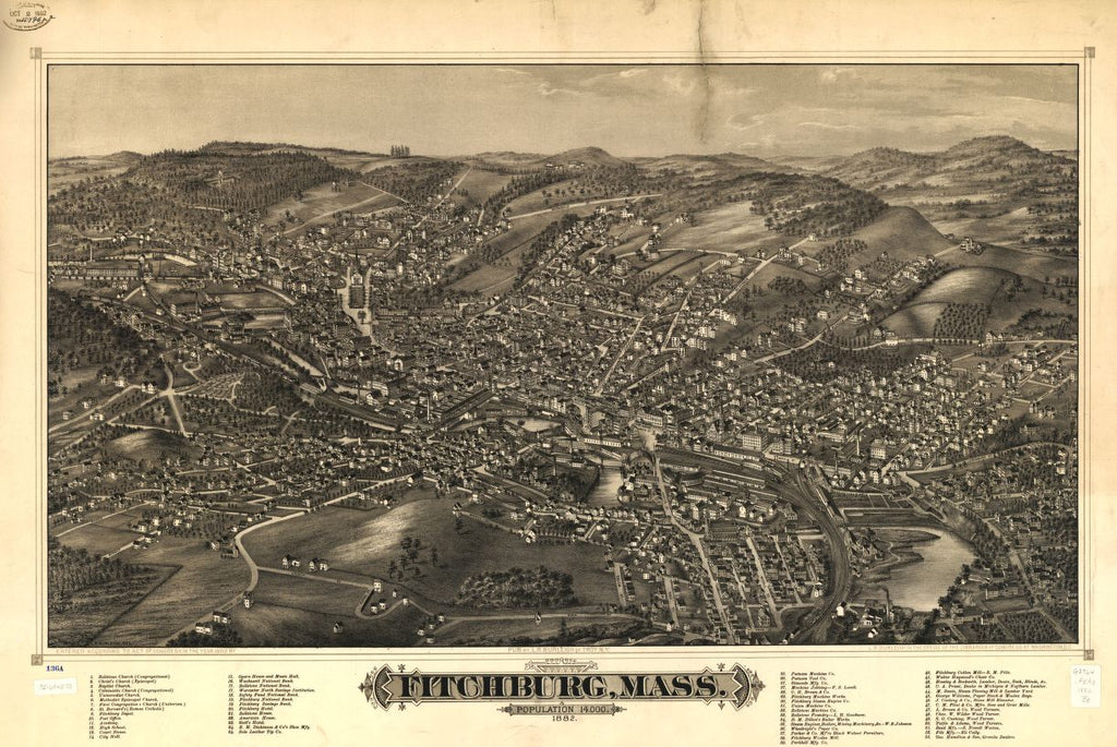 8 x 12 Reproduced Photo of Vintage Old Perspective Birds Eye View Map or Drawing of: Fitchburg, Mass. 1882.  Burleigh, L. R. (Lucien R.) - C.H. Vogt (Firm) - Burleigh, L. R. 1882