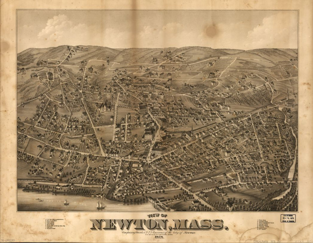 8 x 12 Reproduced Photo of Vintage Old Perspective Birds Eye View Map or Drawing of: Newton, Mass. : comprising wards 1 & 7 & environs of Newton  O.H. Bailey & Co.  1878