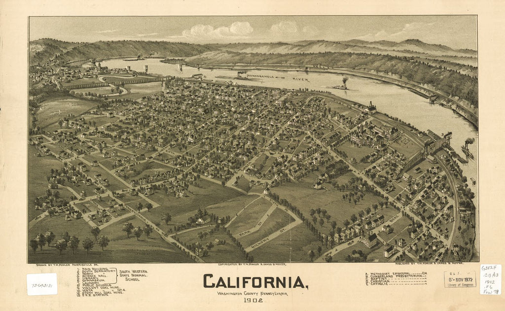 8 x 12 Reproduced Photo of Vintage Old Perspective Birds Eye View Map or Drawing of: California, Washington County, Pennsylvania 1902 Fowler, T. M. - Moyer, James - Fowler, T. M 1902