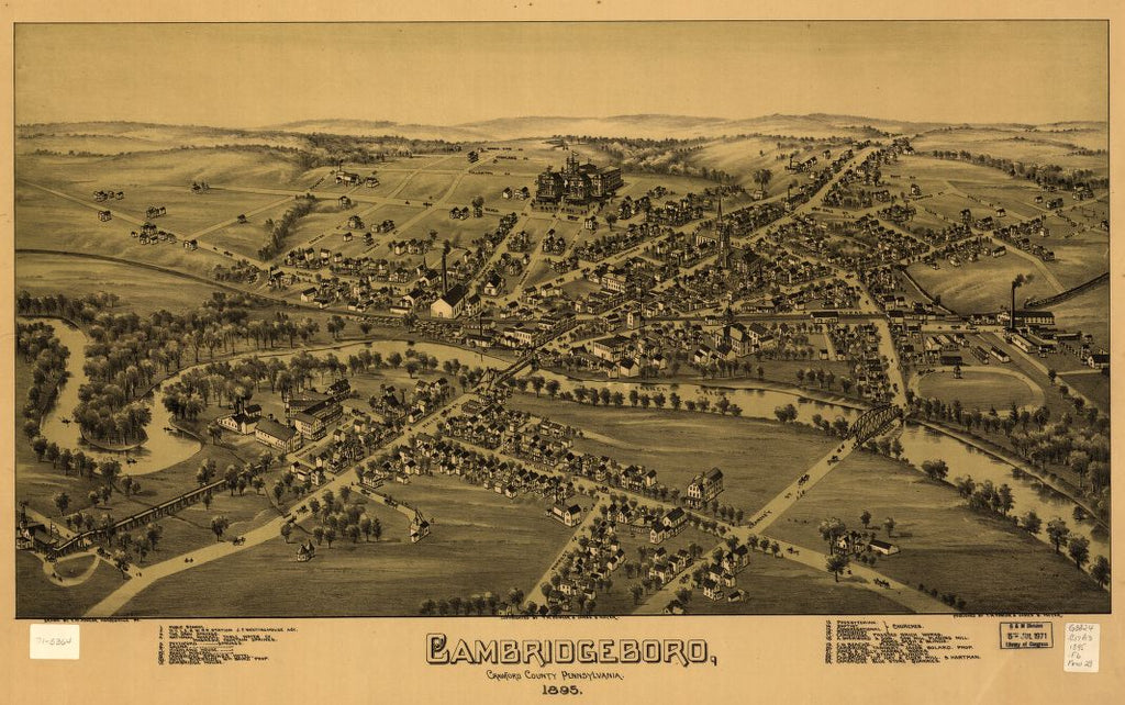8 x 12 Reproduced Photo of Vintage Old Perspective Birds Eye View Map or Drawing of: Cambridgeboro, Crawford County, Pennsylvania Fowler, T. M. - Moyer, James - Fowler, T. M. 1895