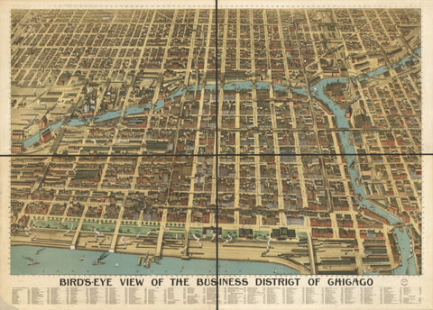 8 x 12 Reproduced Photo of Vintage Old Perspective Birds Eye View Map or Drawing of:  the business district of Chicago. Poole Brothers. c1898
