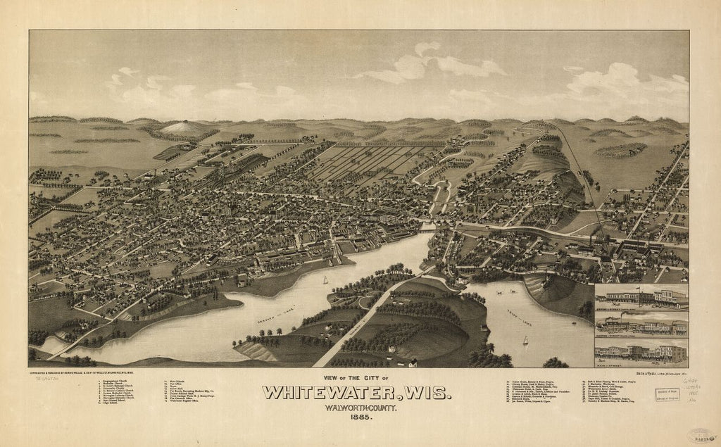 8 x 12 Reproduced Photo of Vintage Old Perspective Birds Eye View Map or Drawing of: Whitewater, Wis. Walworth-County 1855. Norris, Wellge & Co. 1885